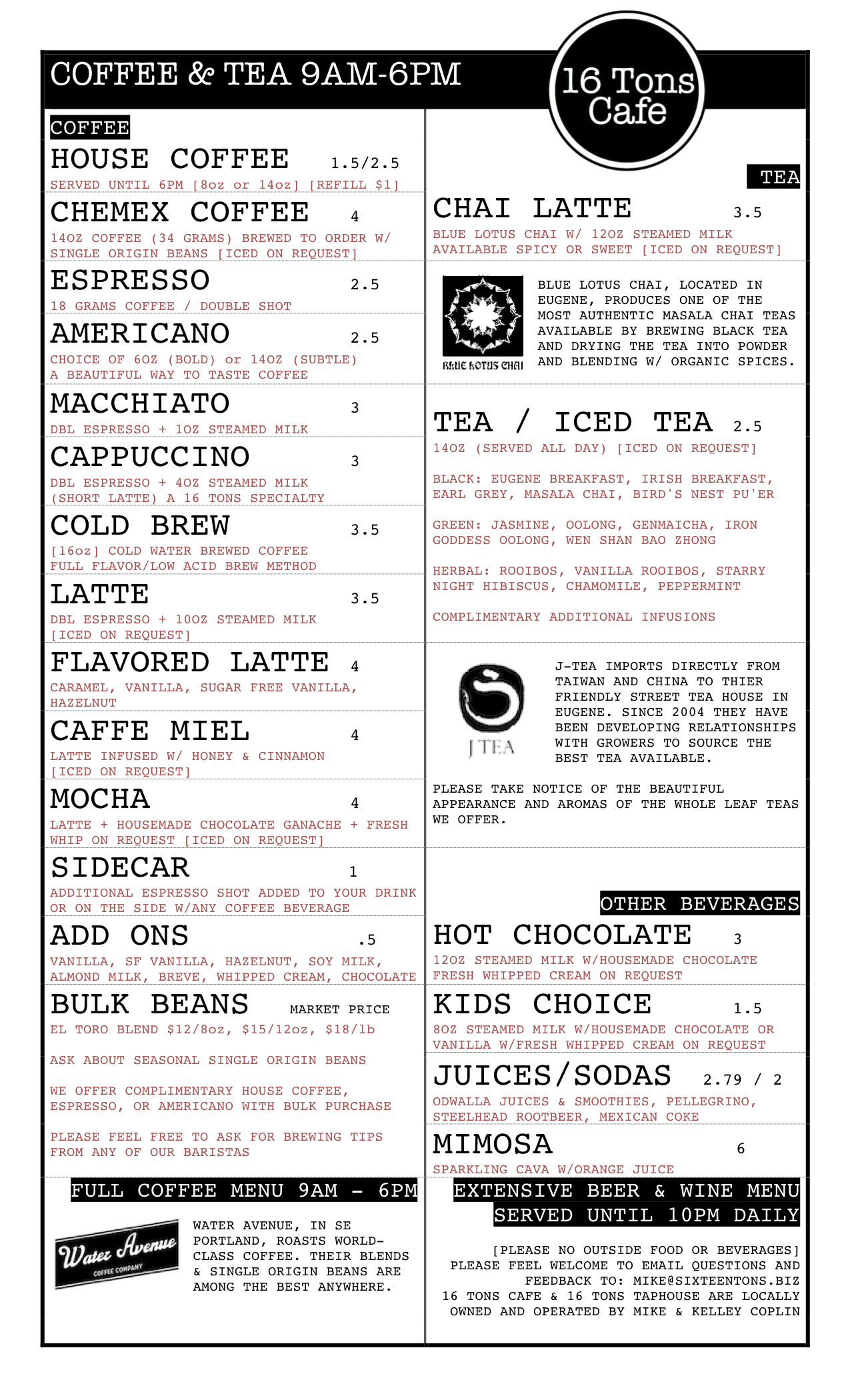 16 Tons Coffee Menu Dec 2-2013