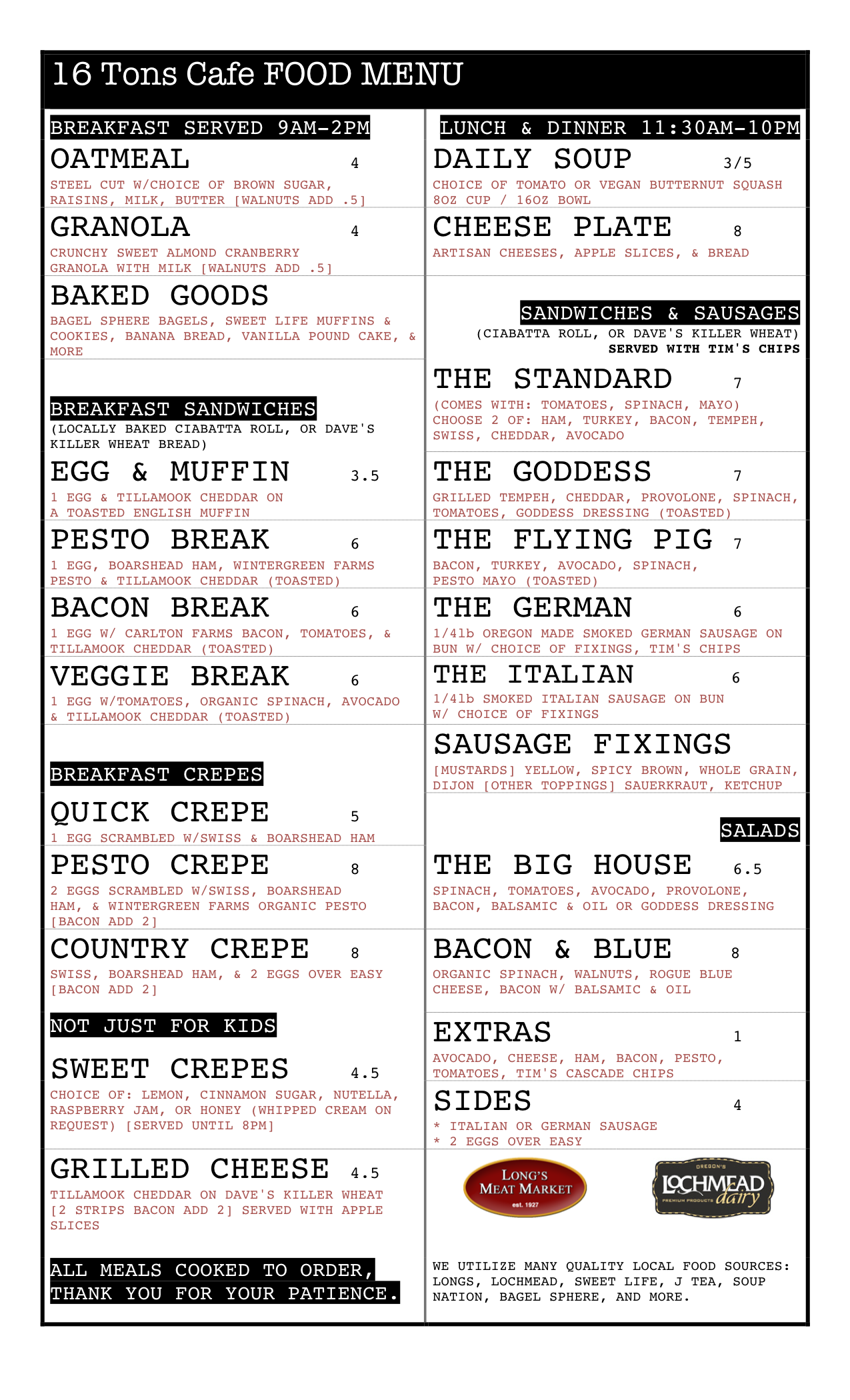 16 Tons Food Menu Dec 2-2013