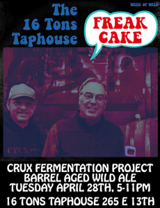 Celebrating our 5th year in business the last week in April. We'll be tapping Crux Fermentation Project Freakcake along with several other sour ales on Tuesday! On Saturday May 2nd we will host our 5th Annual Wild Ale Fest at the Taphouse with more than 40 Wild Ales.