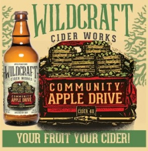 Saturday, February 6th: come support your community. WildCraft Cider Works Community Apple Drive cider supporting the Long Tom Watershed Council.